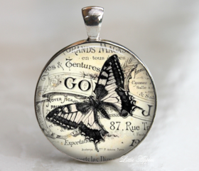 butterfly ephemera sketch drawing vintage glass necklace or keychain