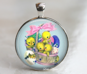 Handmade Adorable Vintage Easter Eggs Basket Chicks necklace or keychain