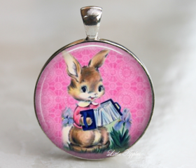 Cute Vintage Easter Brown Rabbit Playing Accordion Round Glass Necklace Keychain