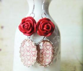 Red flower print pattern lacquer craving rose glass silver lace earrings
