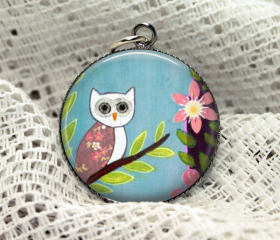 Fabric print flower owl sky blue Necklace Spring Woodland