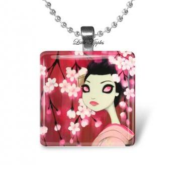errie japanese woman glass tile 1 inch necklace or keychain