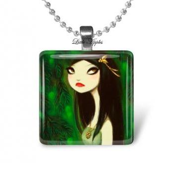 gothic woman green black glass tile 1 inch necklace or keychain