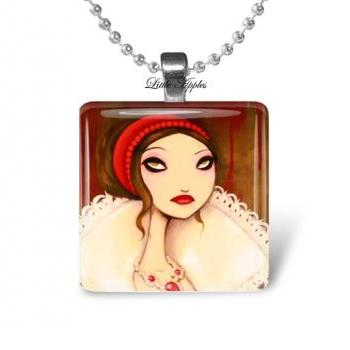 gothic woman red white glass tile 1 inch necklace or keychain